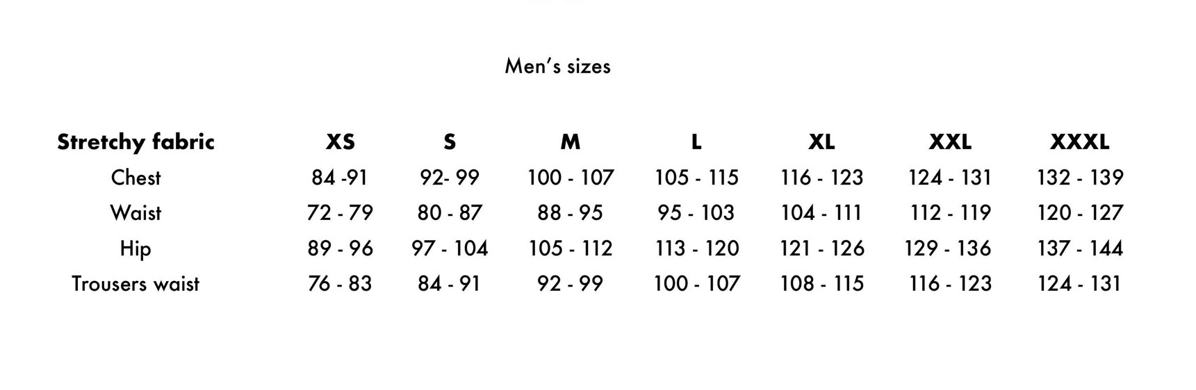 Men stretchy fabric