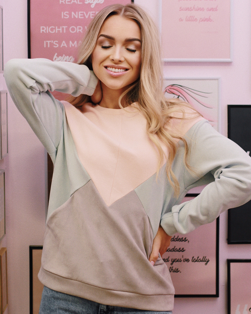 PEACHY & MINT SUEDE TRIANGLE SWEATER