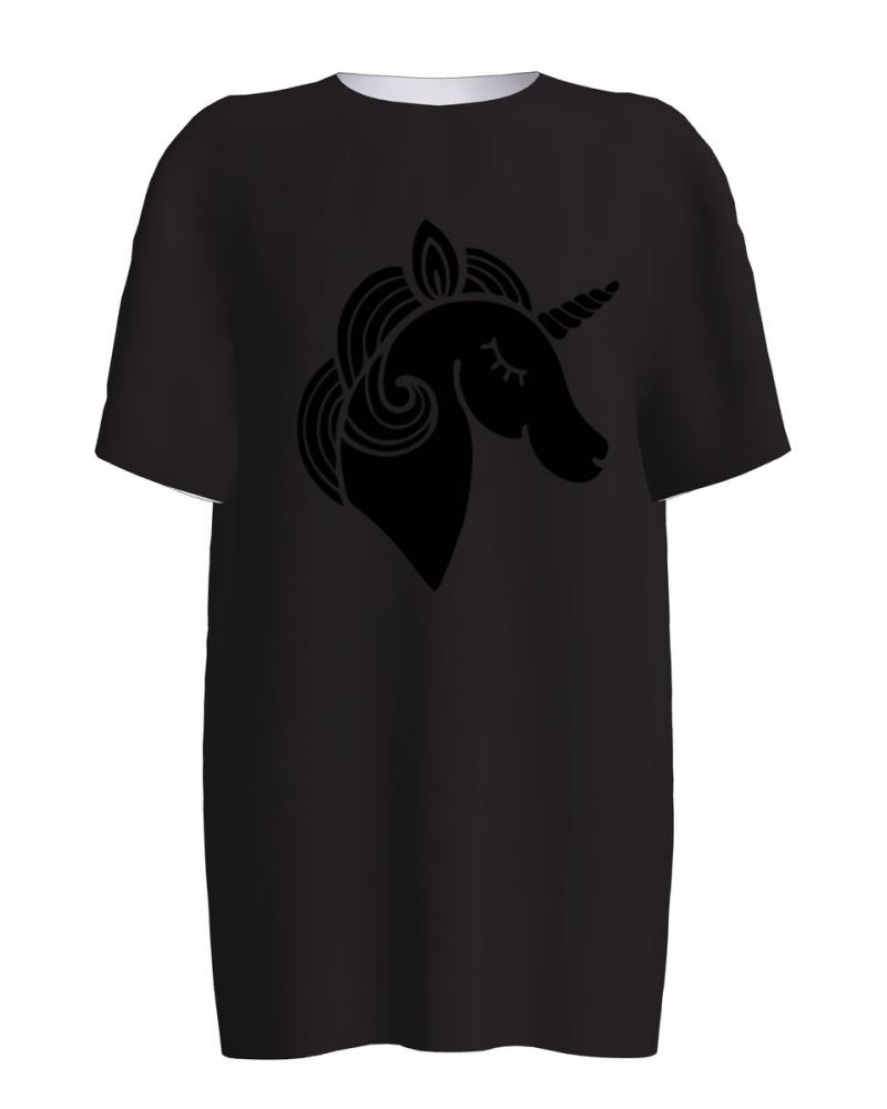 BLACK UNICORN VELVET T-SHIRT