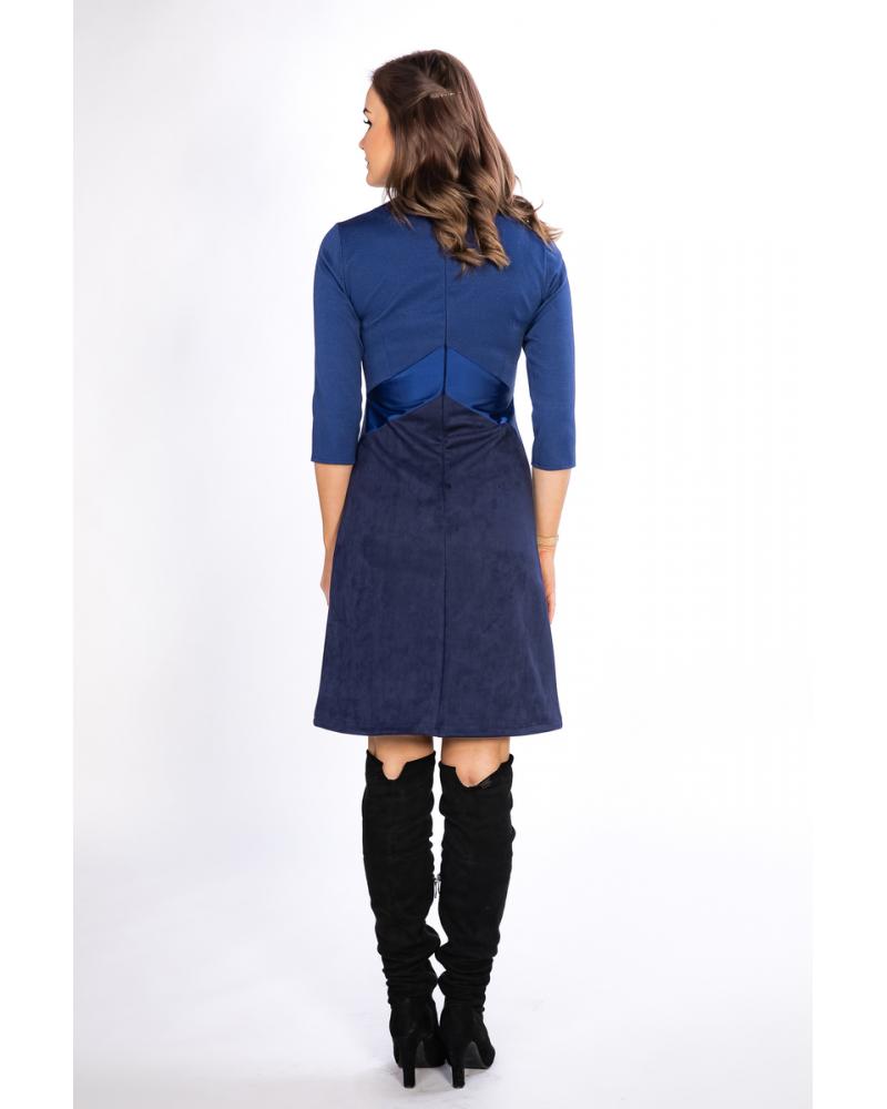 TRIO BLUE SUEDE DRESS