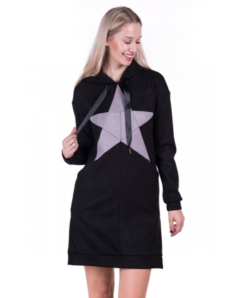 PASTEL STAR BLACK HOODED DRESS