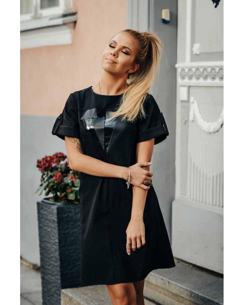 BLACK LEATHER DIAMOND DRESS