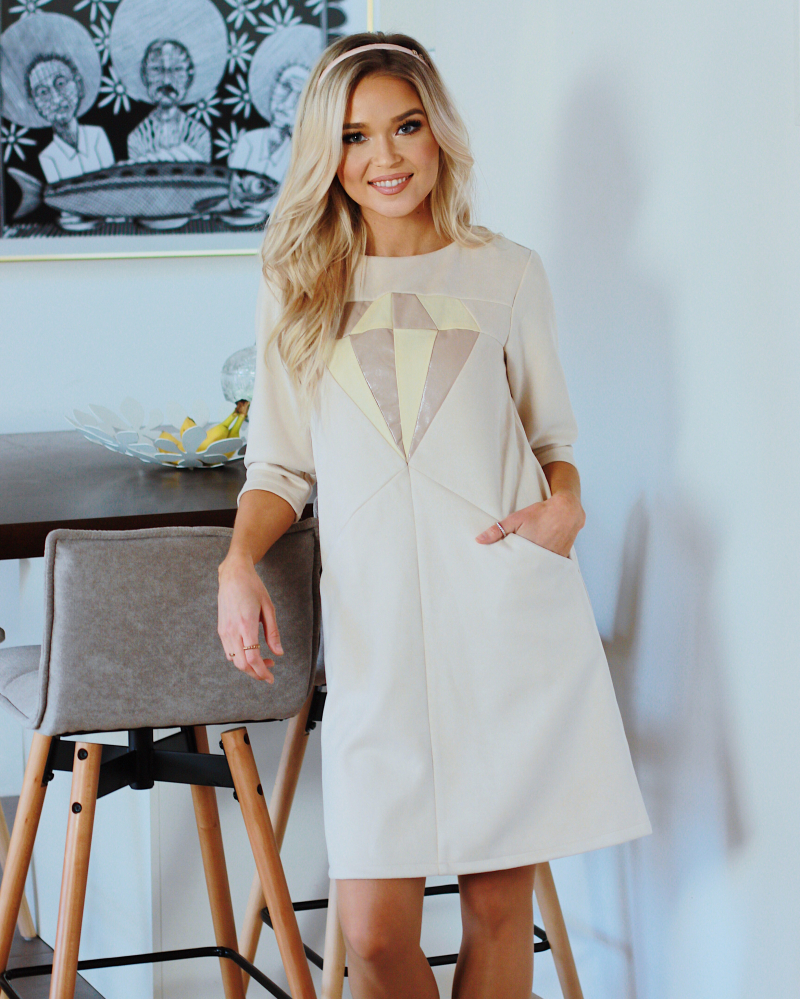 BEIGE DIAMOND SUEDE POCKET DRESS