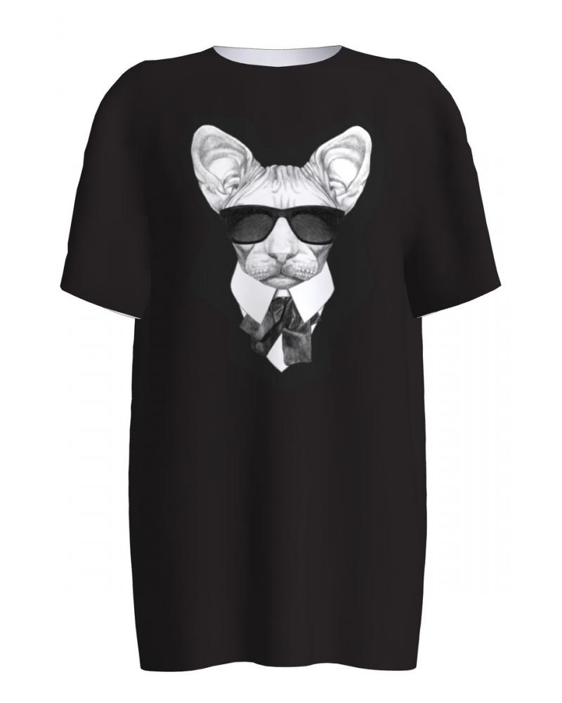 BLACK MAFFIA CAT PRINT T SHIRT