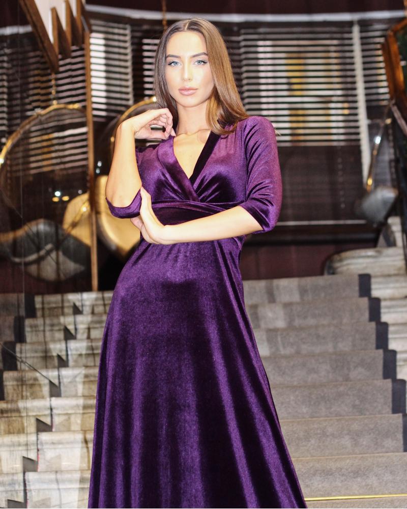 LILAC ELEGANT VELVET MAXI DRESS