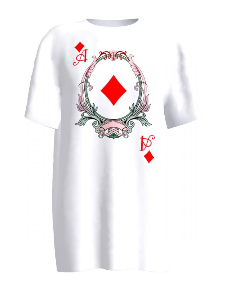 WHITE DIAMONDS PLAYING CARD PRINT T-SHIRT