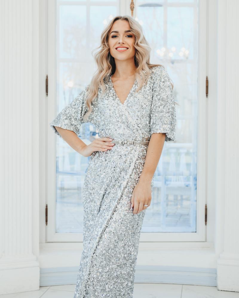 BRILLIANT SEQUIN STRETCHY MAXI DRESS