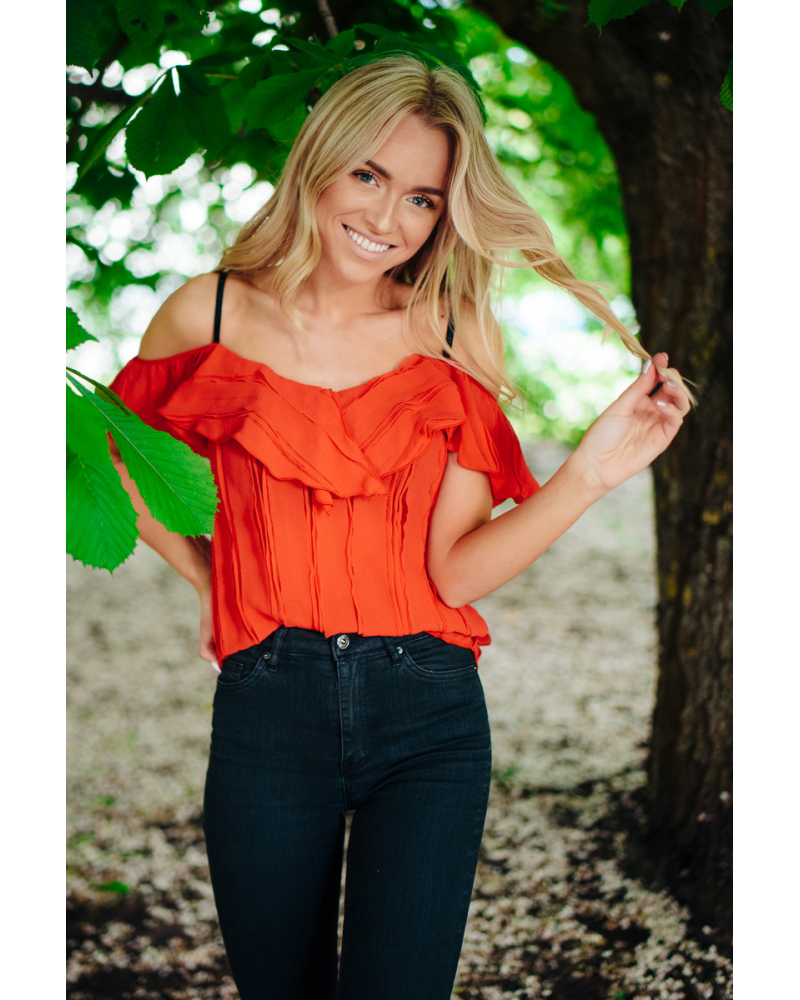 RED FRILL STRAP TOP