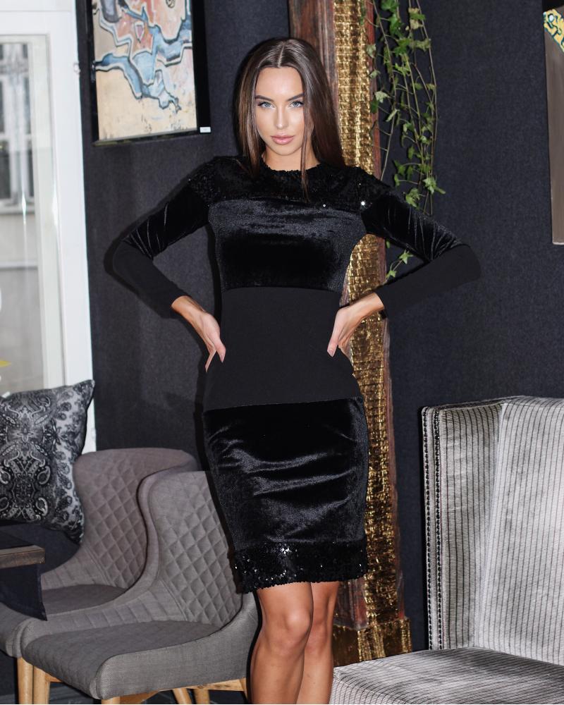 BLACK BODYCON VELVET BLOCK DRESS