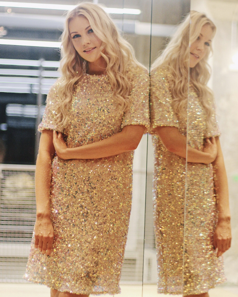 VARICOLOR SEQUIN STRETCHY DRESS