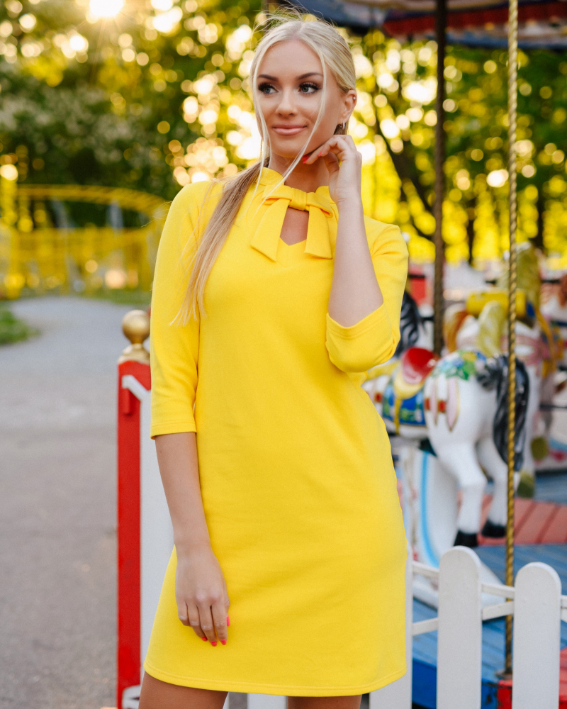 YELLOW DOLLABLE SWEATER DRESS
