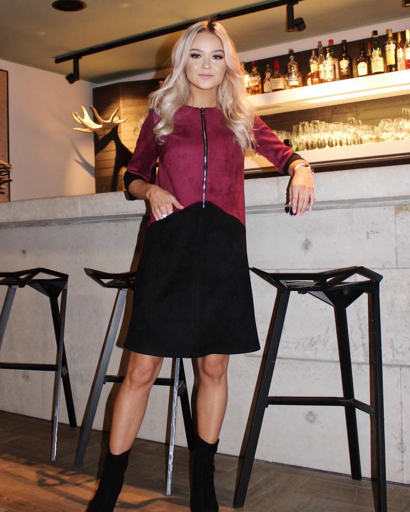 PLUM BLACK SUEDE ZIPPER DRESS