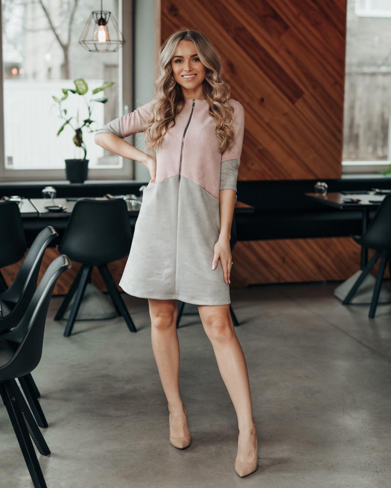 LIGHT PINK GREY SUEDE ZIPPER DRESS