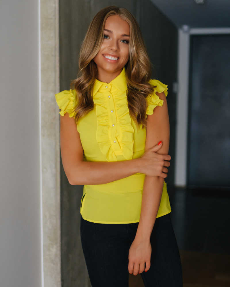 YELLOW FRILL TOP