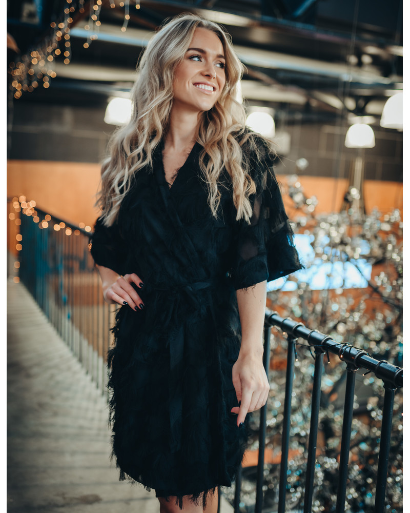 KIMONO FRINGE DRESS BLACK