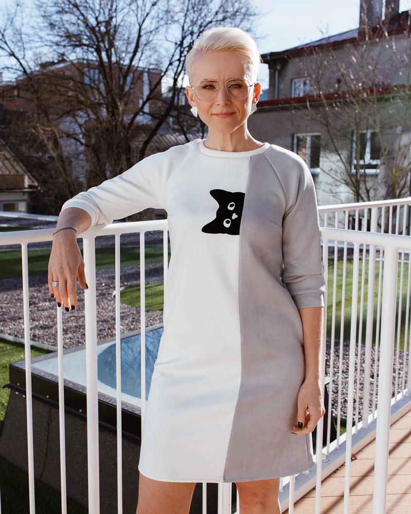 PEEK-A-BOO CAT SUEDE  DRESS WHITE/GREY