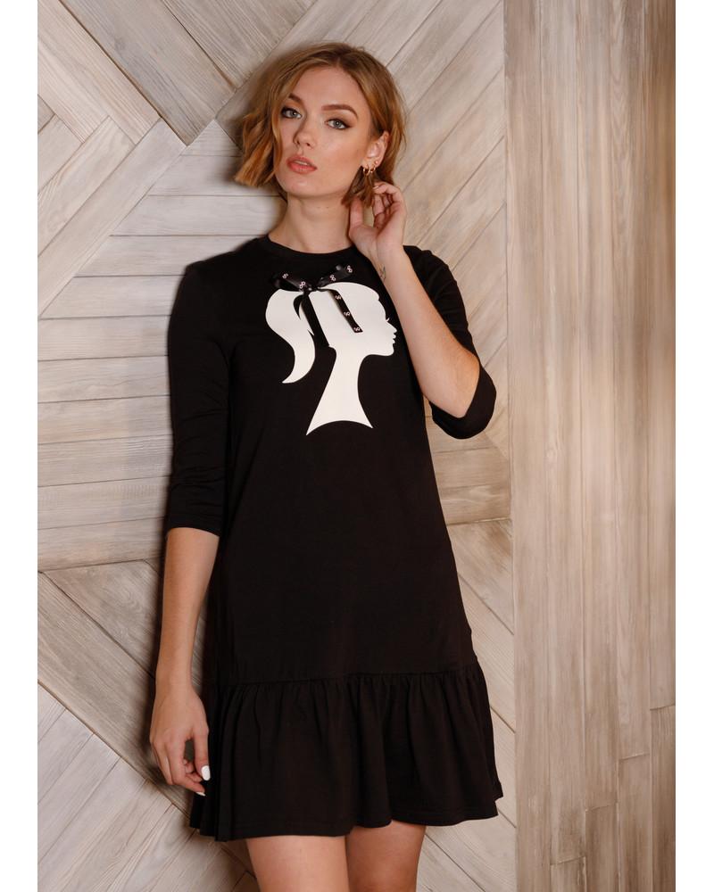 WOMAN PRINT FRILL DRESS BLACK