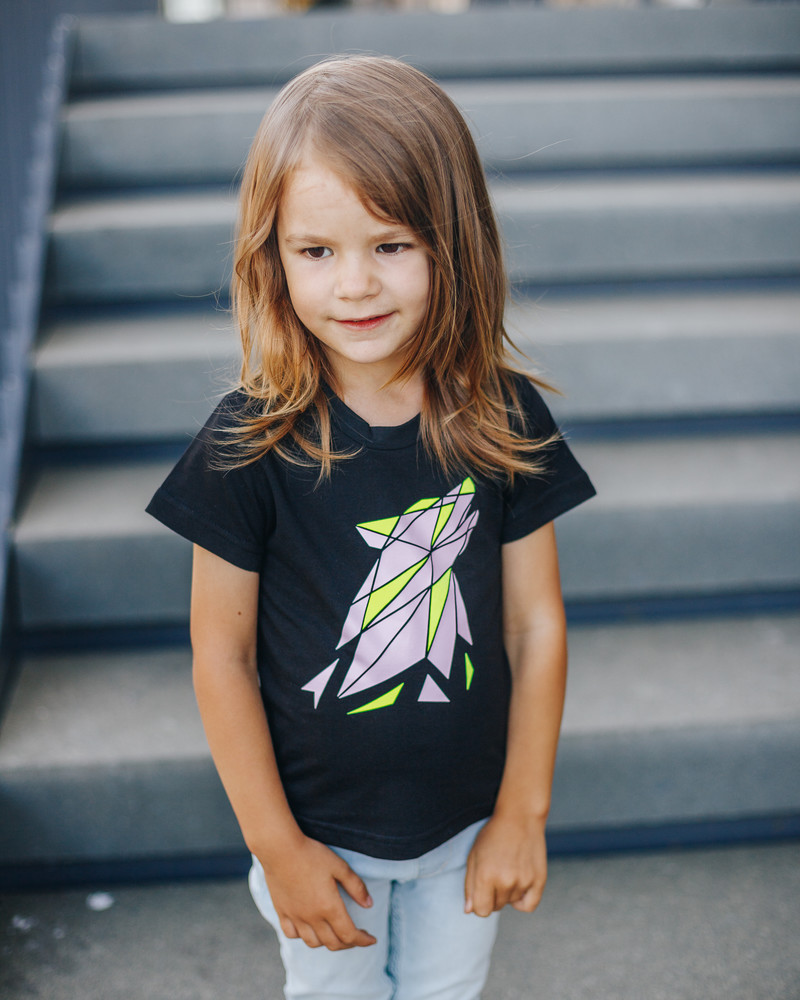 COLOR ABSTRACT WOLF KIDS T-SHIRT BLACK