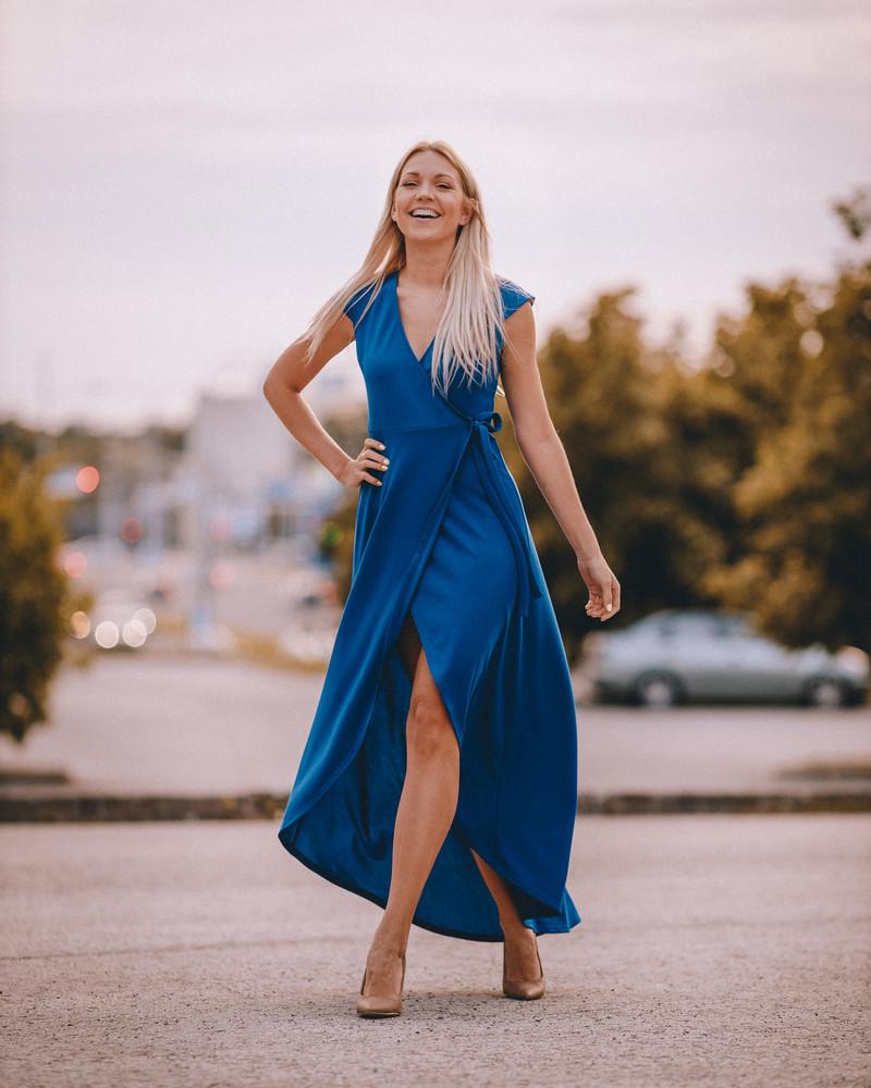 WRAP FLOWY MAXI DRESS BLUE