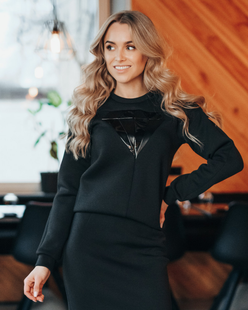 LEATHER DIAMOND SWEATER BLACK