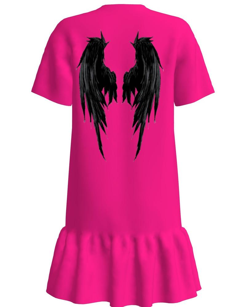 ANGEL FRILL DRESS FUCHSIA