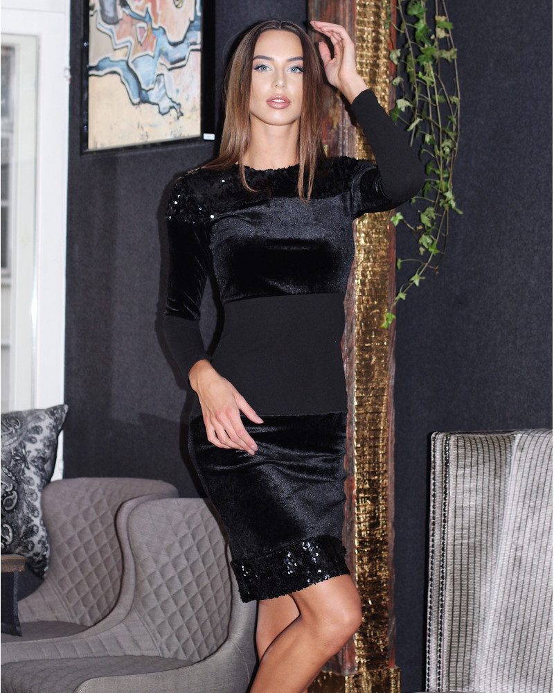 BLOCKS DRESS SEQUIN BLACK