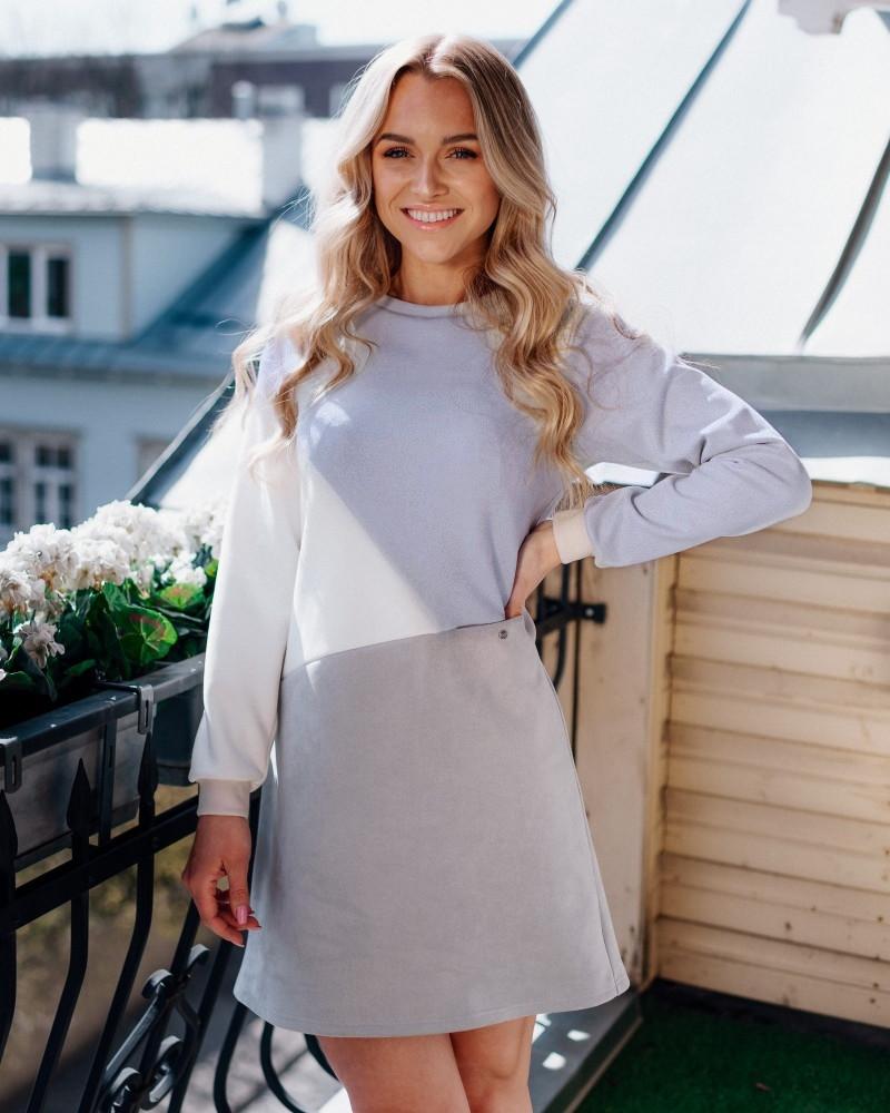 GEOMETRIC SUEDE DRESS GREY WHITE