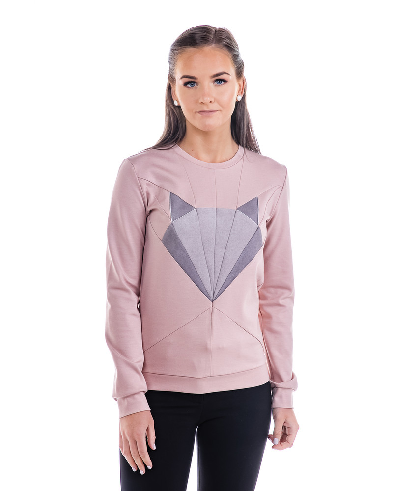 FOX SWEATSHIRT PINK GREY