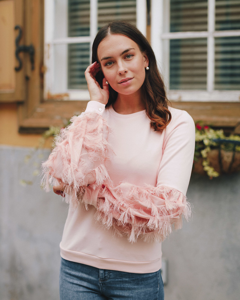 ALICE FRINGE SLEEVE SWEATSHIRT PEACHY