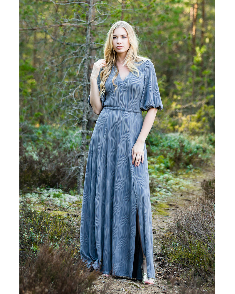 GREY OLIVIA WAVE MAXI DRESS
