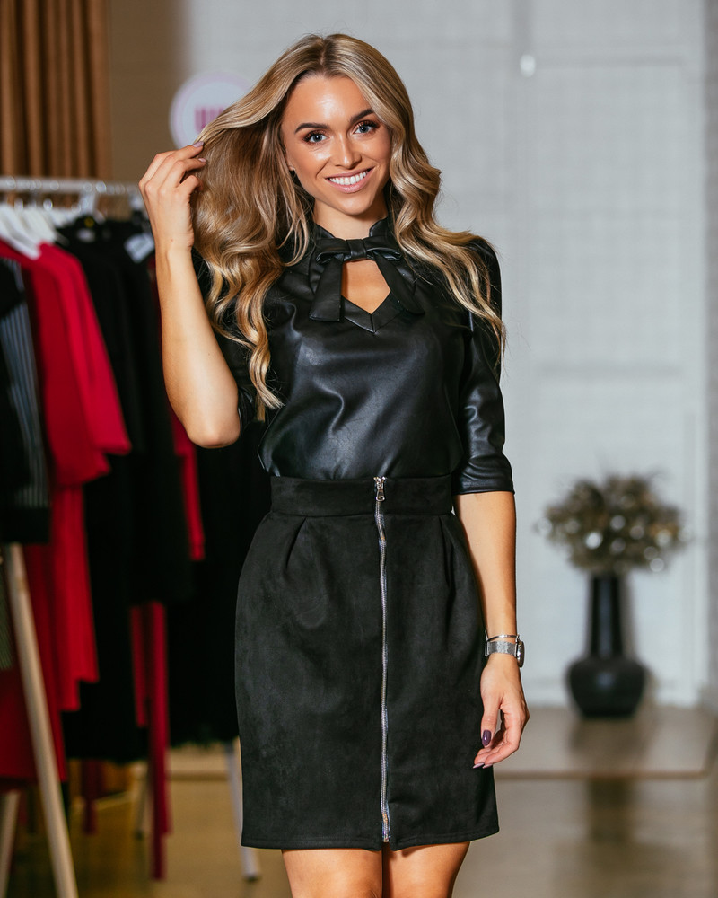 DOLLABLE LEATHER BLOUSE BLACK