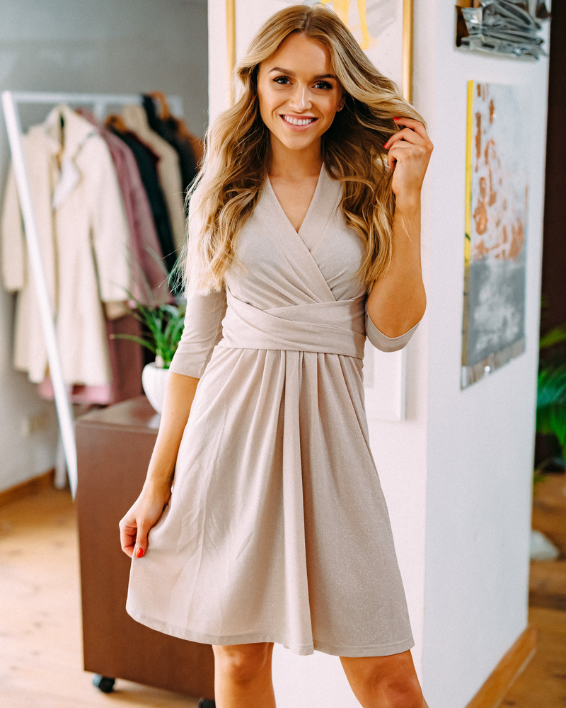 BEIGE SPARKLING ELEGANT DRESS