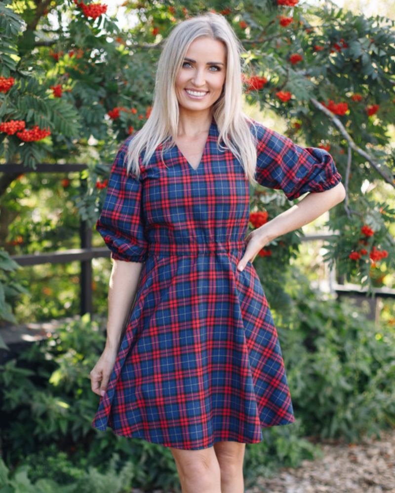 CHEQUERED PUFF CIRCLE DRESS SQUARE