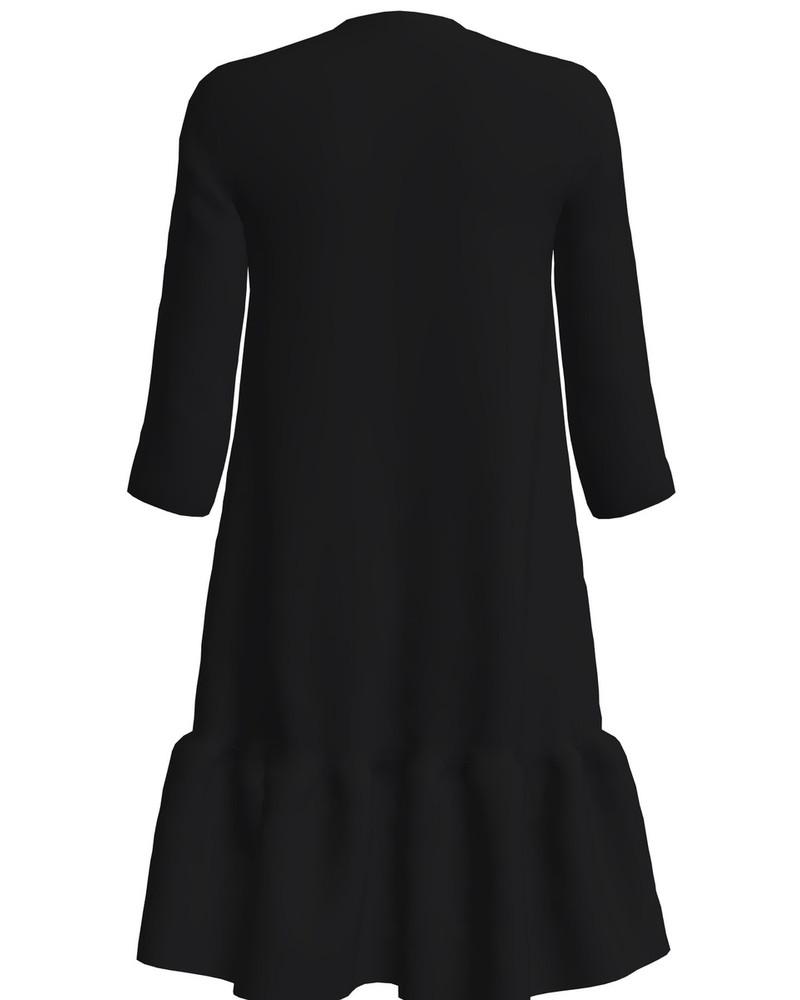TŠEBURASKA PRINT FRILL DRESS BLACK