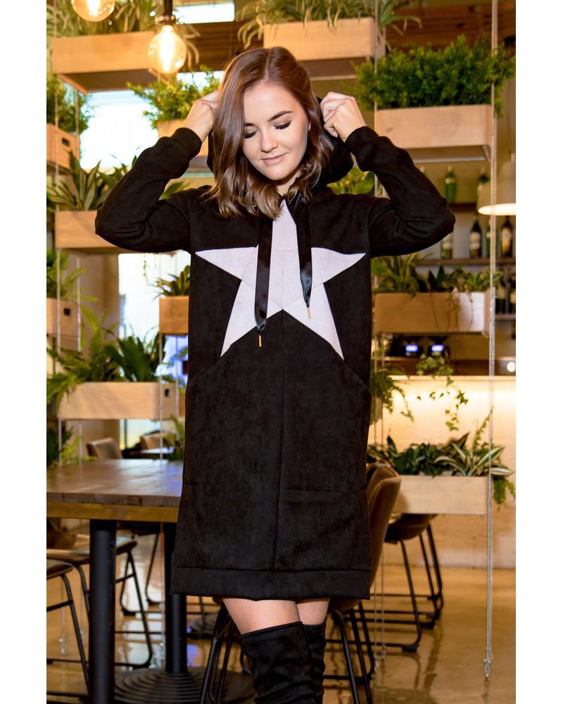 PASTEL STAR BLACK HOODED DRESS