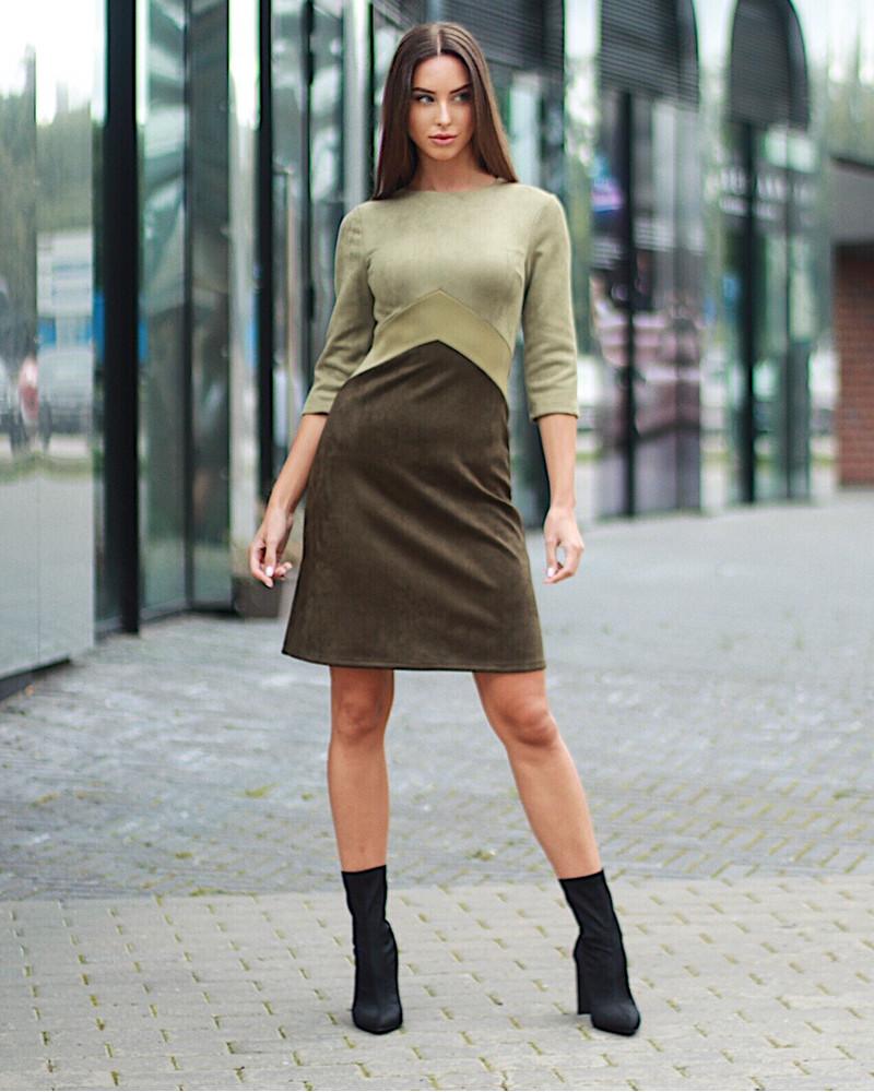 TRIO OLIVE SUEDE DRESS
