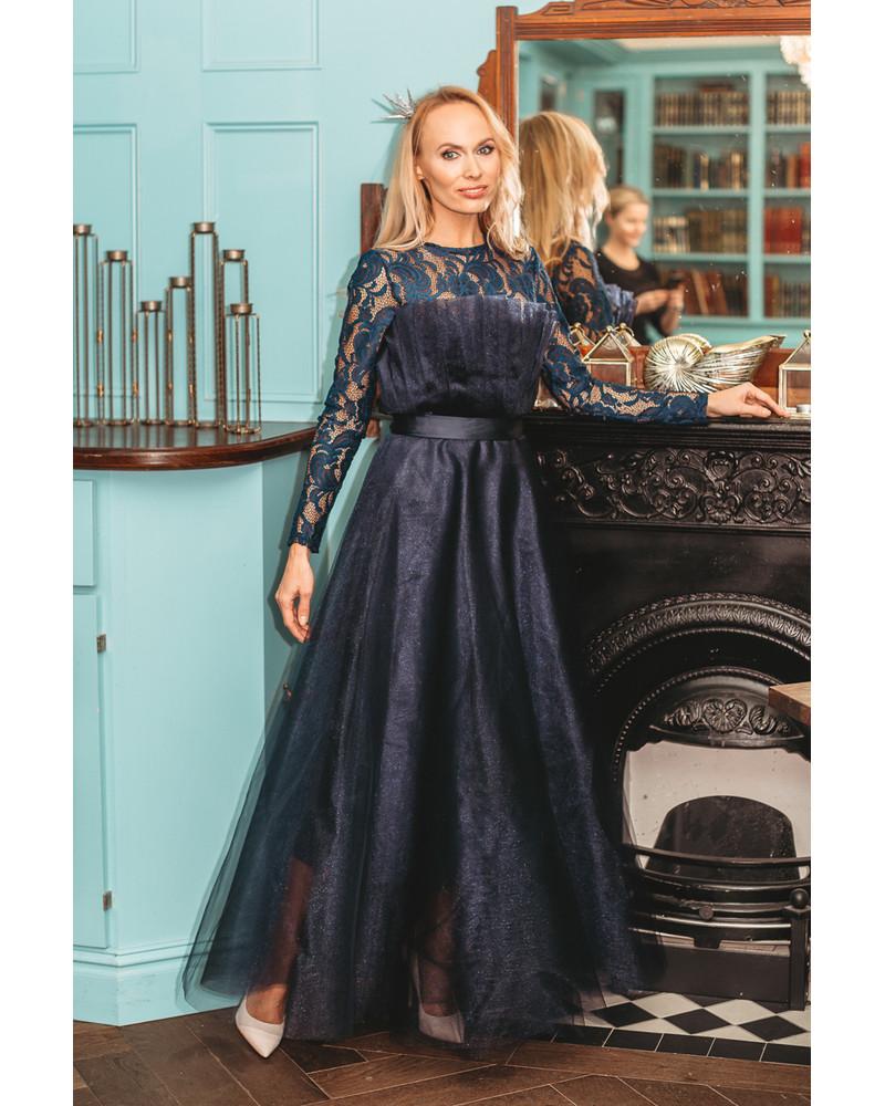 BLUE TULLE MAXI DRESS