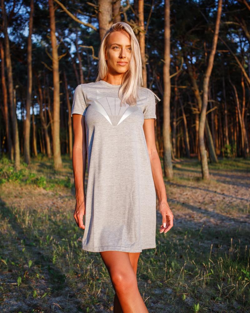 SILVER FOX PRINT DRESS LIGHT GREY