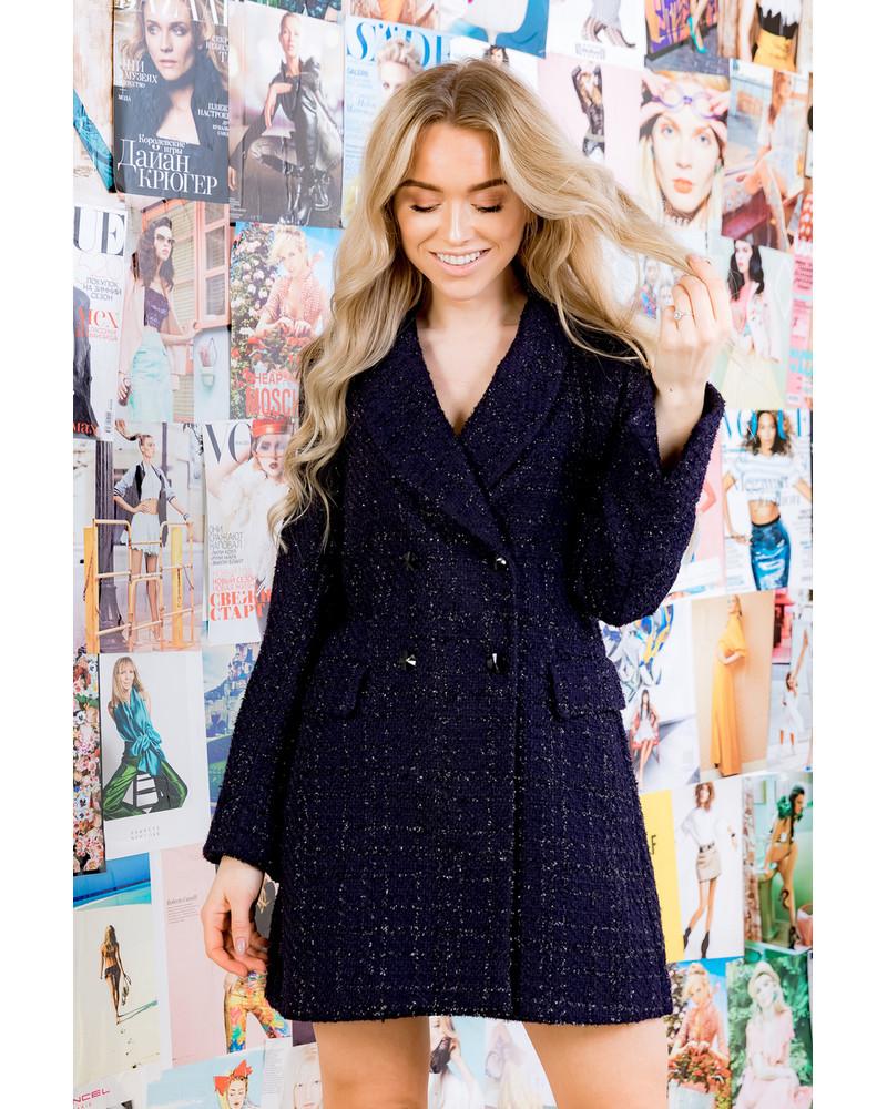 DARK BLUE SHINY COAT DRESS