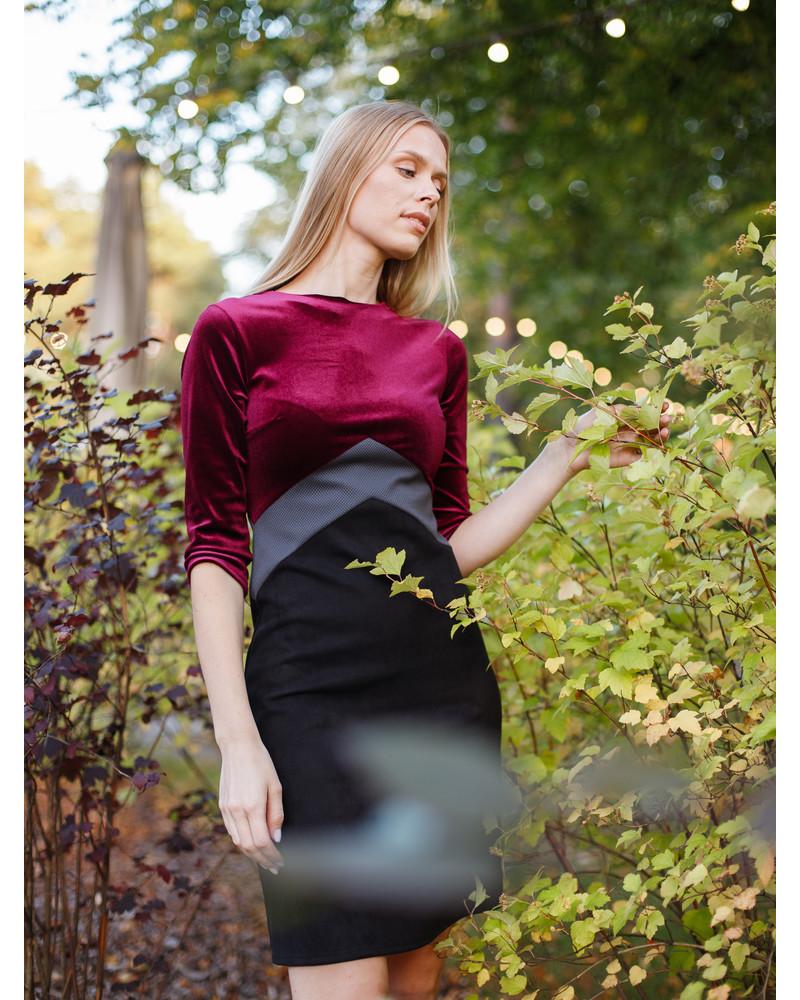 TRIO DRESS PURPLE VELVET BLACK
