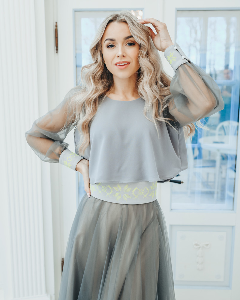 GREY MESH CROP BLOUSE LIME EMBROIDERY