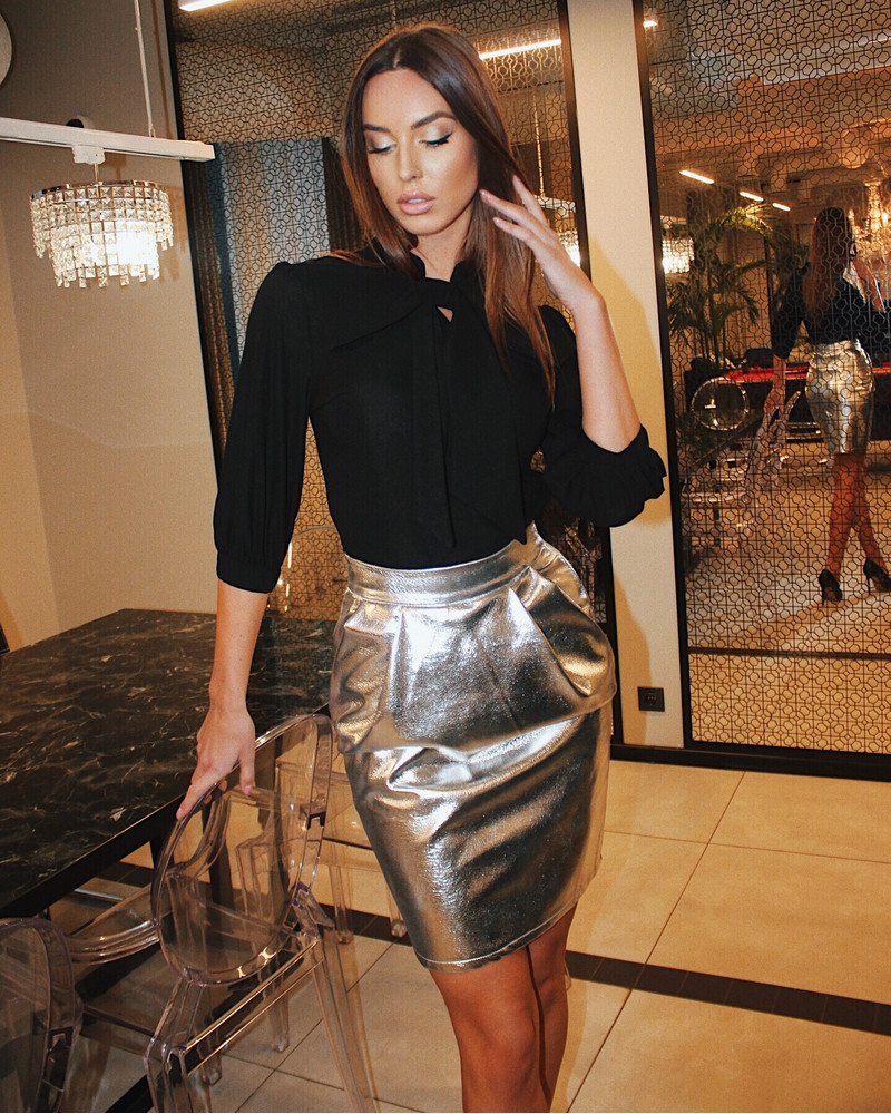 FAUX LEATHER TULIP SKIRT SILVER