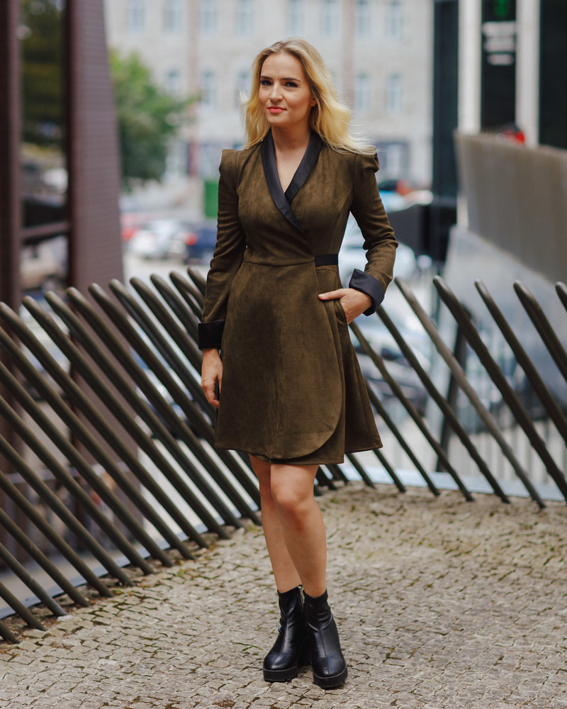 DARK GREEN SUEDE MOON DRESS