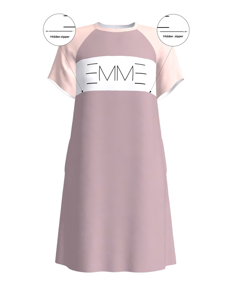 EMME NURSING DRESS PLUM & BEIGE