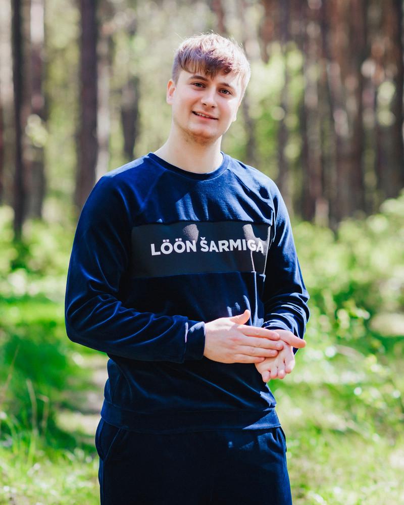 LÖÖN ŠARMIGA VELVET SWEATSHIRT BLUE