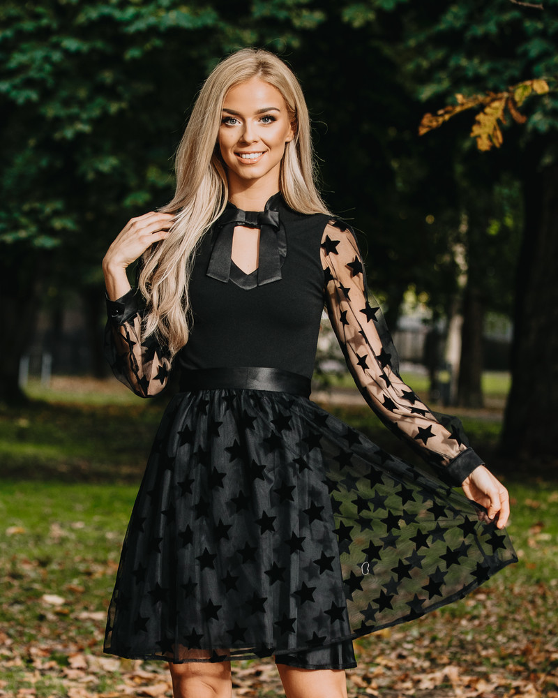 DOLLABLE MESH STAR DRESS BLACK