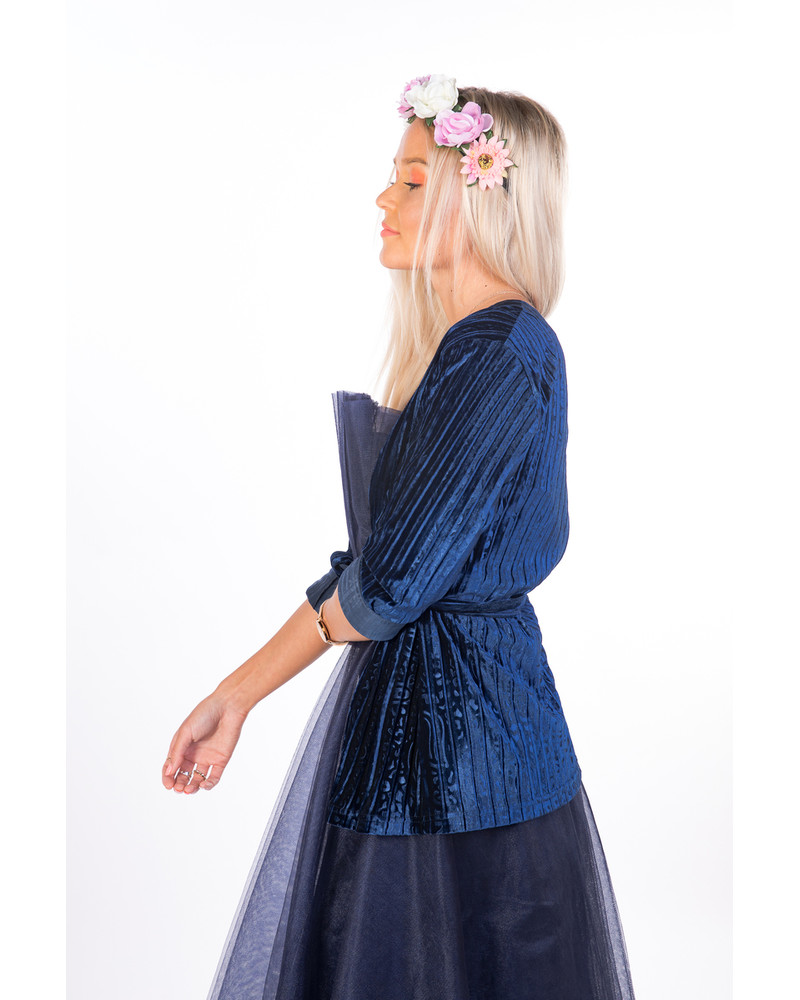 SET:BLUE MESH DRESS+VELVET JACKET