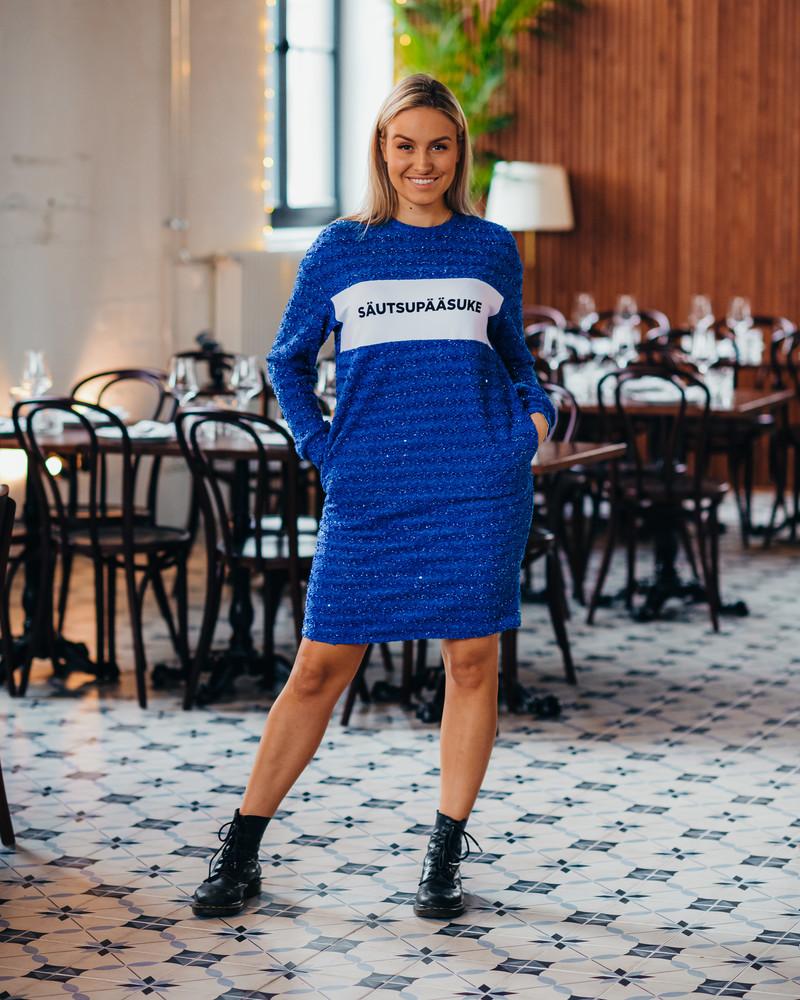 SÄUTSUPÄÄSUKE BLUE SHINY KNIT DRESS