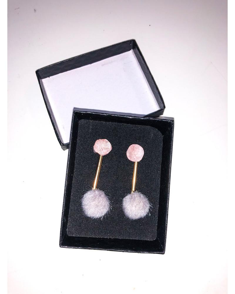 PINK STONE GRAY FUR EARRINGS