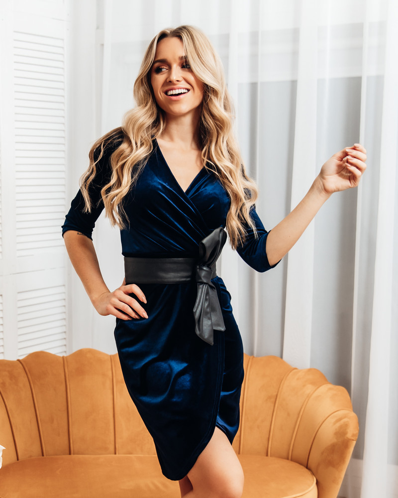 NAVY BLUE VELVET DRAP DRESS